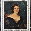 "Stock Photo: Stamp printed in cubdedicated to works of art from National Museum, shows ""Mrs Edward Foster"" by Sir T Lawrence"