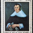 "A stamp printed in cuba dedicated to works of art from the National Museum, shows ""Portrait of a Lady"" by Thomas de Keyser — Foto Stock"