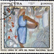 "A stamp printed in cuba dedicated to works of art from the National Museum, shows ""washerwomen"" by Aristides Fernandez — Stock Photo"