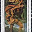 """A stamp printed in cuba dedicated to works of art from the National Museum, shows """"St Cristobal and Child"""" by Bassano — Stock Photo"""