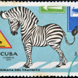 A stamp printed in Cuba shows illustration for traffic regulations — Stock Photo