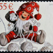 A christmas stamp printed in Finland shows Cuddly Christmas — Stock Photo