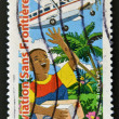 Stock Photo: Stamp printed in France dedicated to humanitariassociation Aviation Sans Frontières