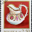 Stock Photo: Stamp printed in Poland shows 1820 porcelain milk jug