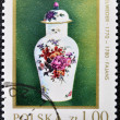 Stamp printed in Poland shows a Kwan Vase, 18th Century — Foto Stock