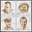 Stock Photo: Stamp printed in Russishows cosmonaut Yuri Gagarin