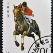 Stamp printed in Tanzanishows horse racing — Stock Photo #14016710