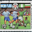 A stamp printed in Tanzania dedicated to FIFA World Cup, USA, 1994 shows footbal players — Stock Photo
