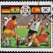 A stamp printed in Tanzania dedicated to FIFA World Cup, USA, 1994 shows footbal players — Foto de Stock
