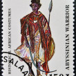 Stamp printed in Tanzanidedicated to historical africcostumes, shows abyssiniwarrior — Stock Photo #14016756