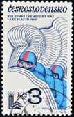 A stamp printed in Czechoslovakia dedicated to Winter Olympics Lake Placid shows Bobsleigh — Stock Photo