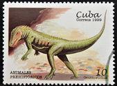 Марку, напечатанную на Кубе, посвященный доисторических животных, показывает Орнитозух — Стоковое фото