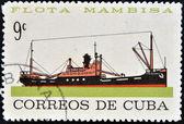 Un sello impreso en cuba dedicada a la flota mambisa, muestra nave siguanea — Foto de Stock