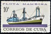 Znaczek wydrukowany na kubie poświęcony mambisa floty, pokazuje wschodniej statku — Zdjęcie stockowe