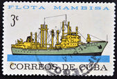 A stamp printed in Cuba dedicated to Mambisa fleet, shows Sierra Maestra ship — Stock Photo