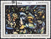 "A stamp printed in cuba dedicated to works of art from the National Museum, shows ""peasant militias"" by Servando Cabrera Moreno — Foto Stock"