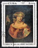 """A stamp printed in cuba dedicated to works of art from the National Museum, shows """"Portrait of a Lady"""" by Nicolaes Maes — Stockfoto"""