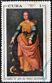 "A stamp printed in cuba dedicated to works of art from the National Museum, shows ""St. Catherine of Alexandria"" by Zurbaran — Foto de Stock"