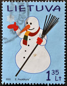 A stamp printed in Lithuania shows Snowman — Stok fotoğraf