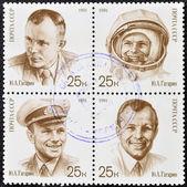 A stamp printed in Russia shows cosmonaut Yuri Gagarin — Stock Photo