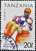 A stamp printed in Tanzania shows boxing — Zdjęcie stockowe