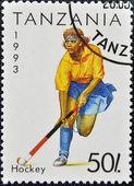 Tanzanya yılında basılmış damga hokey gösterir — Stok fotoğraf