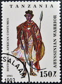 A stamp printed in Tanzania dedicated to historical african costumes, shows abyssinian warrior — Stock Photo