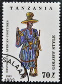 A stamp printed in Tanzania dedicated to historical african costumes, shows goloff style, — Stock Photo
