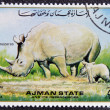 MANAMA AJMAN - CIRCA 1967: a stamp printed in Ajman shows Rhinoceros, circa 1967 — Stock Photo