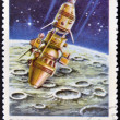 CUBA - CIRCA 1967: A stamp printed in Cuba shows Luna 10 spacecraft, circa 1967. - Stock Photo
