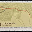 Royalty-Free Stock Photo: CUBA - CIRCA 1968: Stamp printed in Cuba dedicated to anniversary of the attack on the Moncada Barracks, shows Santiago plane, assault routel, circa 1968
