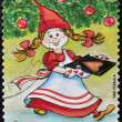 FINLAND - CIRCA 2003: A stamp printed in Finland shows Fairy Christmas with gingerbread heart shape, circa 2003 — Stock Photo #14183165