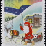 FINLAND - CIRCA 1999: stamp printed in Finland shows Santa with his Sleigh, circa 1999 — Stock Photo