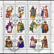 Stock Photo: GUERNSEY - CIRC1985: Collection stamps printed in Guernsey shows gift bearers, circ1985