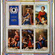COOK ISLANDS - CIRCA 1975: Stamps printed in Cook Islands shows different images of the Virgin Mary and baby Jesus, circa 1975 — Stock Photo