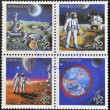 图库照片: USSR - CIRC1989: Stamps printed in Russidedicated to exploration in space, circ1981
