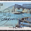 Royalty-Free Stock Photo: REPUBLIC OF SOUTH AFRICA - CIRCA 1995: A stamp printed in RSA shows a view of the port of Cape Town and map, circa 1995