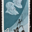 REPUBLIC OF SOUTH AFRICA - CIRCA 1982: A stamp printed in RSA shows pictures of Paulus Joubert, Paul Kruger, Memorial Peace of Vereeniging, circa 1982 - Stock Photo