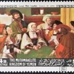 Постер, плакат: YEMEN CIRCA 1968: A stamp printed in Yemen shows The Card Players by Lucas van Leyden circa 1968