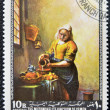 Stock Photo: YEMEN - CIRC1968: stamp printed in Yemen shows Milkmaid by Johannes Vermeer, circ1968