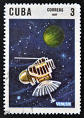 CUBA - CIRCA 1967: A stamp printed in Cuba shows space satellite Venusik, circa 1967 — Foto de Stock