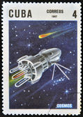 CUBA - CIRCA 1967: A stamp printed in Cuba shows space satellite Cosmos, circa 1967 — Foto Stock