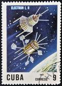 Küba - 1967 yaklaşık: Küba'da basılmış damga uzay uydu elektron 1,2, 1967 yaklaşık gösterir. — Stok fotoğraf