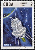 CUBA - CIRCA 1967: A stamp printed in Cuba shows the Soviet space probe Luna 3, circa 1967 — Foto Stock