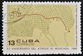 CUBA - CIRCA 1968: Stamp printed in Cuba dedicated to anniversary of the attack on the Moncada Barracks, shows Santiago plane, assault routel, circa 1968 — Stock Photo