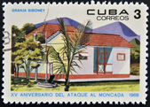 CUBA - CIRCA 1968: Stamp printed in Cuba dedicated to anniversary of the attack on the Moncada Barracks, shows Siboney farm, circa 1968 — Stock Photo