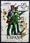 SPAIN - CIRCA 1976: A stamp printed in spain dedicated to military uniforms, shows light infantry 1830, circa 1976 — Stock Photo