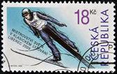 CZECH REPUBLIC - CIRCA 2009: A stamp printed in Czech Republic shows Ski Jumping, circa 2009 — Foto de Stock