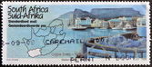 REPUBLIC OF SOUTH AFRICA - CIRCA 1995: A stamp printed in RSA shows a view of the port of Cape Town and map, circa 1995 — Stock Photo