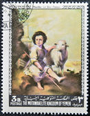 YEMEN - CIRCA 1968: A stamp printed in Yemen shows The Good Shepherd by Murillo, circa 1968 — Stock Photo